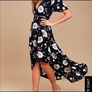 NWT Lulus floral wrap high low dress